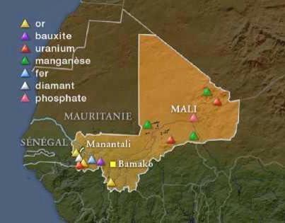 Mapa złóż bogactw naturalnych w Mali