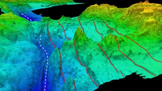 Rów Mariański - kolor ciemnoniebieski to najgłębsze miejsce na Ziemi