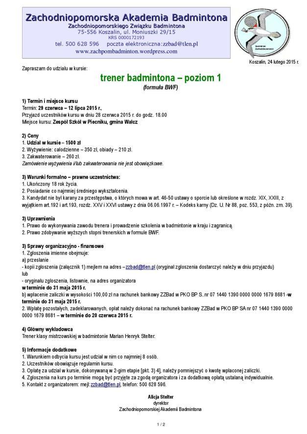 2015.02.24 OGŁOSZENIE kurs trener badmintona poziom 1 formuła BWF