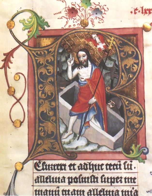 """""""Zmartwychwstanie"""", ok. 1440-50, miniatura z mszału, Archiwum Kapitulne na Wawelu w Krakowie"""